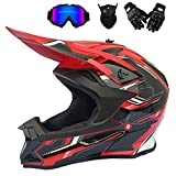 Casco de Motocross Negro Rojo, Pro Casco Cross Adulto con Gafas/Mascarilla/Guantes, Casco Descenso Hombre MX Enduro MTB Quad Off Road ATV Scooter, Forro Extraíble,L