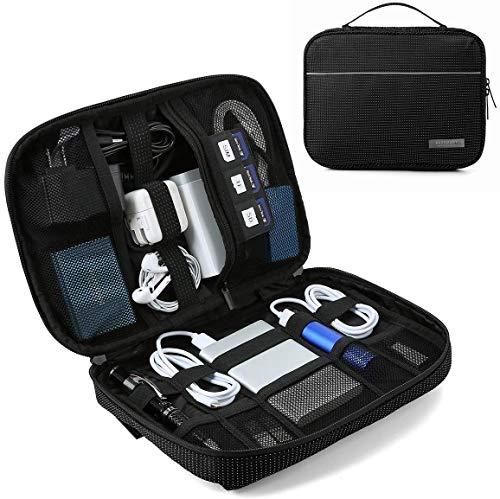 BAGSMART Elektronik Organizer Zubehör Tasche Reise für Powerbank, Handy-Netzteil, Kabel, USB Sticks, SD Karten (Schwarz)