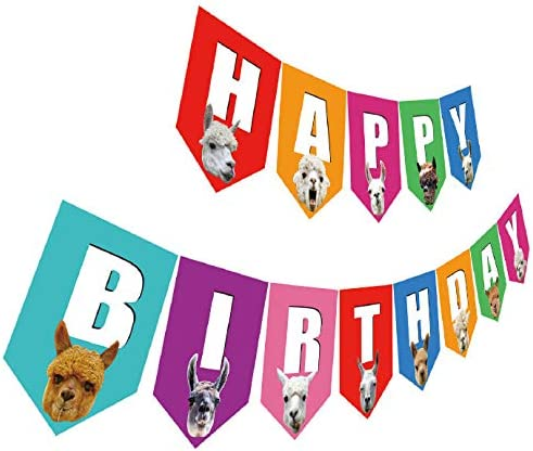 Llama Birthday Super popular specialty store Banner Colorful Happy Alpaca Super-cheap with Sign