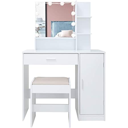 Amazon Com Usikey Vanity Table Set With 10 Light Bulbs Makeup Table With 1 Large Drawer 1 Storage Cabinet Dressing Vanity Table Dresser Desk With Cushioned Stool For Bedroom Bathroom White Kitchen