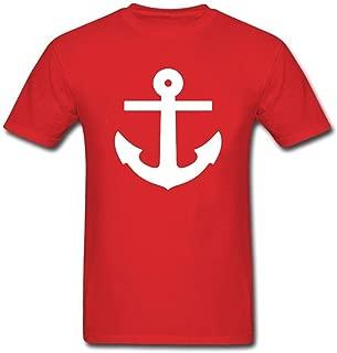 Flowshirt Men Boat Anchor Printing T Shirts Crew Neck Short-Sleeved