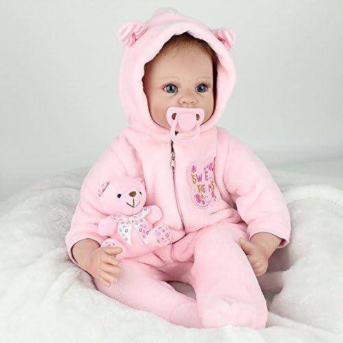 CHENGXX Reborn Babypuppe Stoff  Silikon 21 Zoll 5cm Rosa Blinkende Puppe Kinderspielzeug Niedliche Stoffpuppe mädchengeschenk
