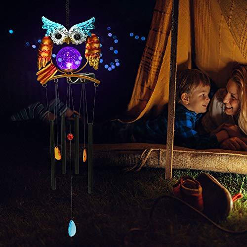 Brynnl Solar Wind Chimes Lichter, Owl Wind Chimes Licht Farbwechsel LED Solar Wind Chimes Licht mit 4 Aluminiumrohr hängen wasserdichtes dekoratives Außenlicht für die Außenlandschaft