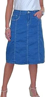 icecoolfashion Stretch Denim Flared Jeans Skirt Below Knee 12-22
