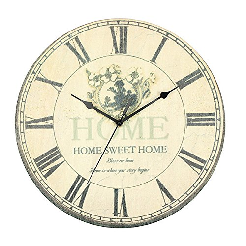 Inovey Vintage Art Horloge Murale Fleur Antique Rustique Design Home Office Cafe Bar Decor