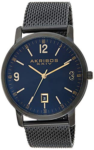Akribos XXIV Men's Sunburst Dial Watch - Classic Easy-to-Read Face with Date Window On Stainless Steel Mesh - AK858