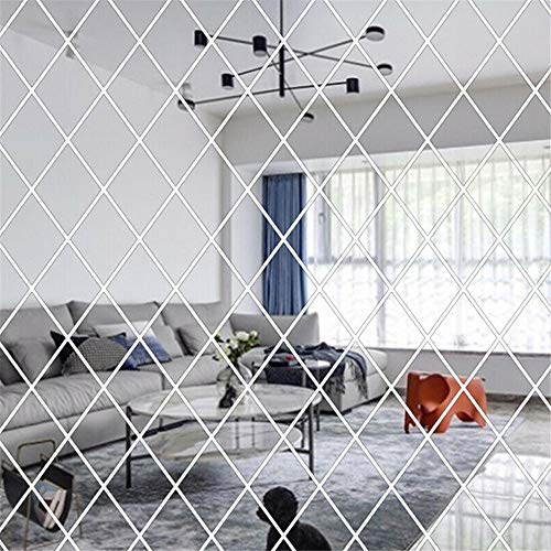 Jroyseter 3D Mirror Wall Sticker Removable Self Adhesive Triangle Stitching Mirror Stickers DIY Wall Stickers Ceramic Tile Furniture Decal Decoration Wallpaper for Home Living Room (Silver)