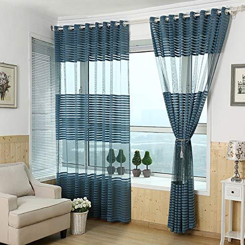 Hpybest Fashion Warp gebreid scherm hoogwaardige stof dwarse streep gordijnen op maat Tulle voor woonkamer slaapkamer