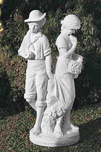 pompidu-living Verliebtes Paar, Steinfigur, Gartenfigur Farbe Sandstein Farbe Sandstein