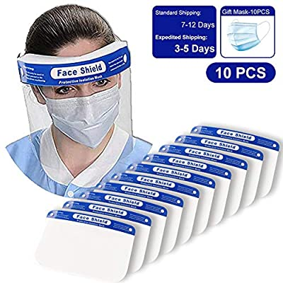 Wirezoll Safety Face Shield Reusable Full Face Transparent Breathable Visor Windproof Dustproof Hat Shield Protect Eyes And Face With Protective Clear Film Elastic Band (10PCS)