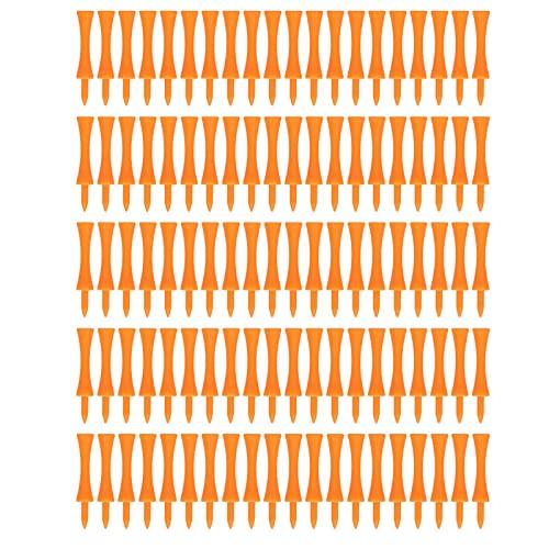 Derya Orange Kunststoff Golf Tees Set Leichte Kleine Tragbare Trapezförmige Tees Für Outdoor 100Pcs 70mm