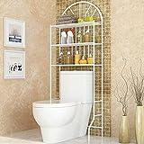 Estante Encima del Inodoro 3 Baño WC Aseo Mueble Almacenamiento Estantería Visualización Organizador,Estructura Estantería I con 3 Estantes I Estantería de Baño de Metal Lacado,65 * 34 * 177cm-blanco