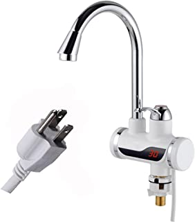 A.B Crew 110V 3sec Instant Tankless Electric Hot Water Heater Faucet Kitchen Fast Heating Tap Water Faucet with LED Digital Display(Big Under Inflow)