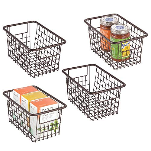 mDesign Modern Farmhouse Deep Metal Wire Storage Organizer Bin Basket with Handles for Kitchen Cabinets Pantry Closets Bedrooms Bathrooms Laundry Rooms Garages - 525 High 4 Pack - Bronze