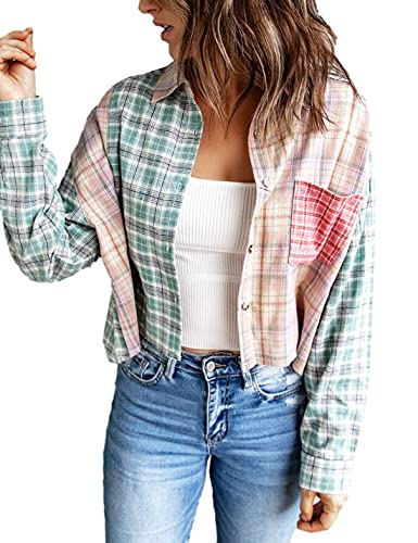 HangNiFang Patchwork Plaid Flannel Shirts for Women Button Up Long Sleeve Tops Blouse(0367-PinkGreen-XL)