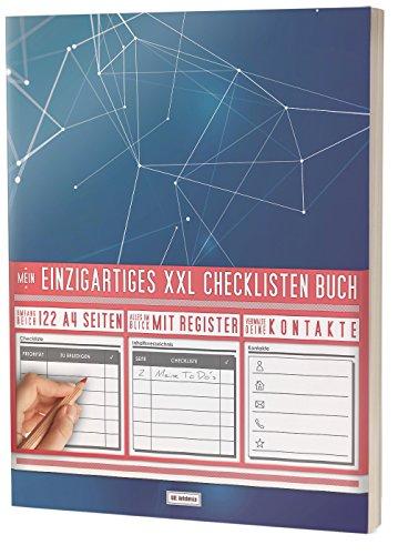"""Mein Checklisten Buch / 122 Seiten, Register uvm. / Jetzt mit Datum, Priorität und Platz für Notizen / PR501 """"Geometrisch"""" / DIN A4 Soft Cover"""
