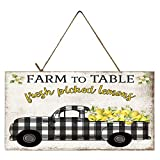 Twisted R Design Vintage Truck Sign (Black Buffalo Check Lemon Truck)