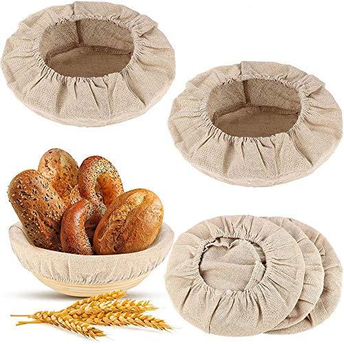 YAIKOAI 6 Pcs Bread Basket Cover, Round Shaped Bread Banneton Proofing Basket Cover Dough Sourdough Banneton Proofing Basket Cloth Liner for Baking Sourdough Supplies (10 inch)