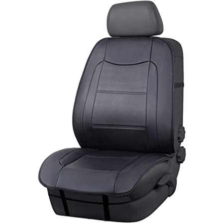 Amazon Basics Luxuriöser Sitzbezug Seitenlos Universale Passform Aus Kunstleder Schwarz Auto