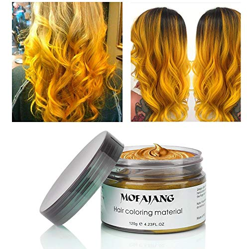 MOFAJANG Hair Coloring Wax Temporary Hairstyle Cream 4.23 oz Hair Pomades Natural Ash Matte Hairstyle Wax for Men and Women (Gold)