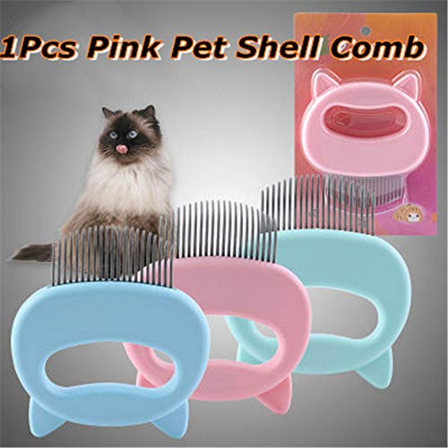 mkyulyp Pet Cat Dog Massage Shell Comb, Relaxing Cat Comb Massager, Grooming Hair Removal Shedding Cleaning Brush, Effective Deshedding Grooming Hair Remover for Cats (Pink)