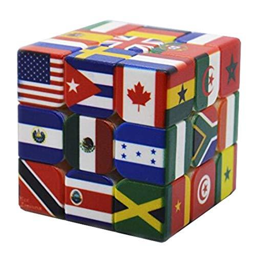 JIARUN Cubo de Velocidad de Bandera Nacional 3x3, 3x3x3, Juguetes educativos de educación temprana para niños, Rompecabezas para Adultos y Ancianos Cubo mágico de Tres órdenes