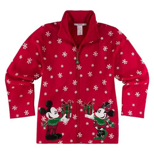 Disney Parks Authentic Mickey and Minnie Mouse Red Womens Holiday Jacket ~ Size Large