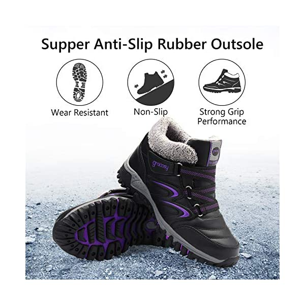 gracosy Waterproof Hiking Boots Snow Boots Sporting Shoes Winter Sneakers Fashion Boots Warm Shoes Running Shoes Outdoor Casual Ankle Shoes Fur Lined Bootie