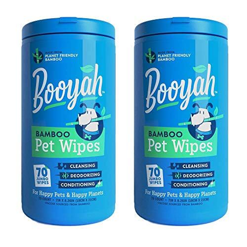 Booyah Tree Free Bamboo Pet Wipes, Hypoallergenic & Deodorizing Cleaning Wipes for Dogs and Cats - Unscented, 2 Canisters, Total of 140 Jumbo Wipes
