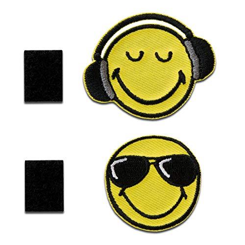 Smiley  Gafas de sol y auriculares con cierre adhesivo Smiley - Parches termoadhesivos bordados aplique para ropa, tamaño: 3,6 x 3,6 cm