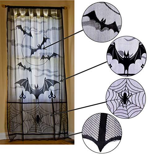 JOMSK Halloween Türvorhänge Gardinen Türvorhang Fledermaus Tür Fenster Vorhänge für Wohnzimmer Schlafzimmer Kinderzimmer Balkon Fest Party Dekor