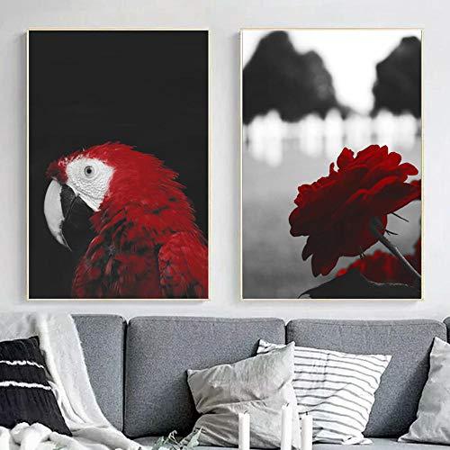 Natura Paisaje Póster escandinavo pared Arte impresiones rojo loro rosa lienzo de cáñamo cuadros moderno salón dormitorio cuadro decoración 40 x 60 cm x2 no enmarcado