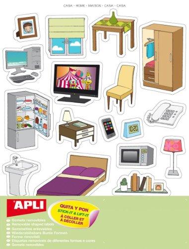 APLI Kids 11437 - Bolsa de 75 pegatinas temáticas extraíbles'la casa'