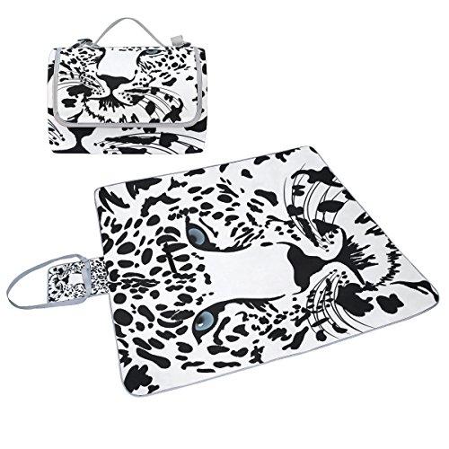 COOSUN schwarz und weiß Tiger Picknick Decke Tote Handlich Matte Mehltau resistent und wasserfest Camping Matte für Picknicks, Strände, Wandern, Reisen, Rving und Ausflüge
