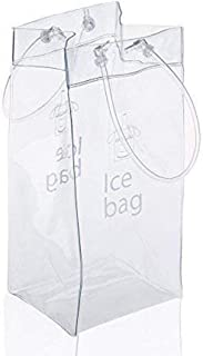 Sohapy 2 Pack Portable Collapsible Clear Ice Wine Bag Pouch Cooler Bag with Handle for Party,Outdoor,Champagne,Cold Beer,W...