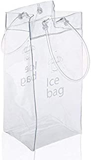Sohapy 2 Pack Portable Collapsible Clear Ice Wine Bag Pouch Cooler Bag with Handle for Party,Outdoor,Champagne,Cold Beer,White Wine,Chilled Beverages