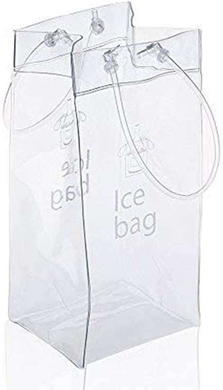 Sohapy 2 Pack Portable Collapsible Clear Ice Wine Bag Pouch Cooler Bag With Handle For Party Outdoor Champagne Cold Beer White Wine Chilled Beverages