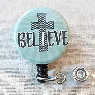 BELIEVE Badge Reel, Inspirational ID Badge for Nurse, I Believe Cross Retractable ID Badge Reel With Swivel Pinch Clip, Nurse Badge Holder, Encouragement Badge Holder