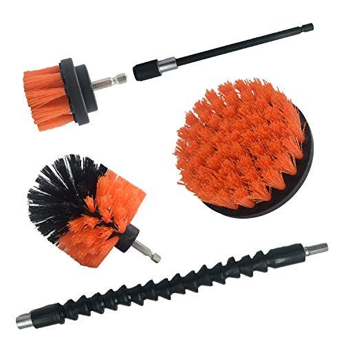 5ピース 電動工具 ナイロンブラシ ントキット(オレンジ色 強い硬度)スクラブクリーニングタイル 、車、バスタブ、大理石、グラウト、キッチン、シンク、ストーブおよびそ…