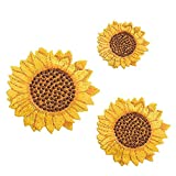 ZOOPOLR 3 Pcs Delicate Embroidered Patches, Van Gogh Sunflower Embroidery Patches, Iron On Patches, Sew On Applique Patch, Custom Backpack Patches for Men, Women, Boys, Girls, Kids