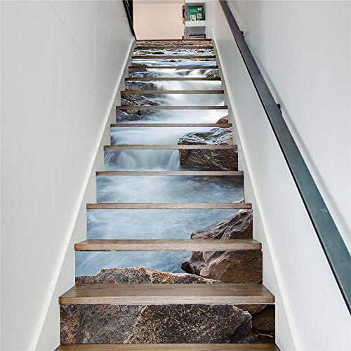 GVRPV 3D Pegatinas para escaleras13 Piezas de Papel Tapiz de PVC Simple de Pegatinas de Escalera DIY Pegatinas de Paso Pegatinas de Pared