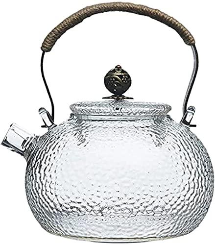 SUOMO Tetera silbante Hervidor de té Tetera de 700 ml Tetera fría Hermosa Resistente al Calor Transparente de la Olla de Haz de Mango de Cobre se Puede Calentar el hervidor