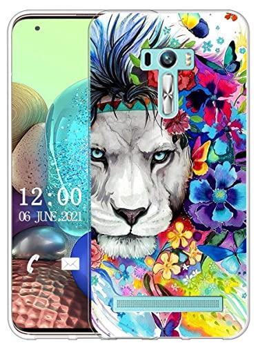 Sunrive Kompatibel mit Asus Zenfone Selfie ZD551KL Hülle Silikon, Transparent Handyhülle Schutzhülle Etui Hülle (X Löwe)+Gratis Universal Eingabestift MEHRWEG