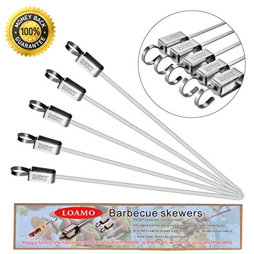 Lowest Price! LOAMO Kabob BBQ Barbecue Skewers 14.5 Inch Flat Stainless Steel Metal Grilling Sticks ...