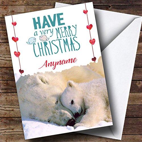 Knuffelen Polar Bears Gepersonaliseerde Kerstvakantie Groeten Card