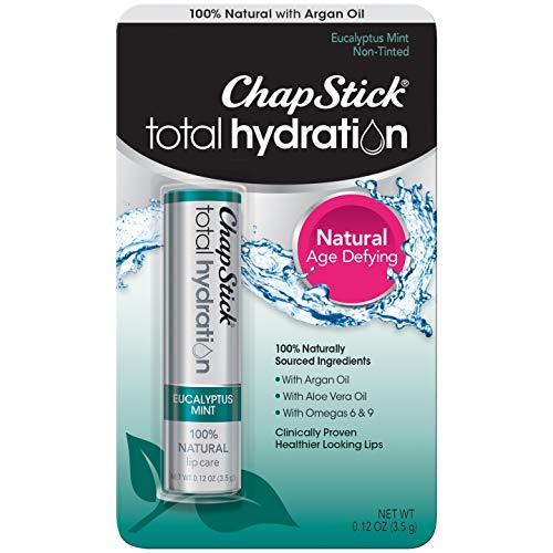 ChapStick Total Hydration (Eucalyptus Mint Flavor, 0.12 Ounce) Flavored Lip Balm Tube, Natural Age Defying Lip Care, Clinically Proven