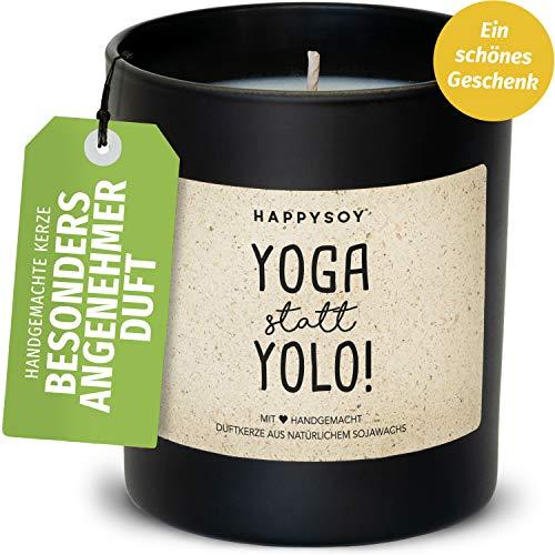 Happysoy Yoga en Lugar de Yolo Duftkerze en el Vidrio con Frase - 100% Natural handgemacht - sostenible Regalo Personal para Yogastunde Meditation Mejor Amiga Hermana mamá Abuela cumpleaños
