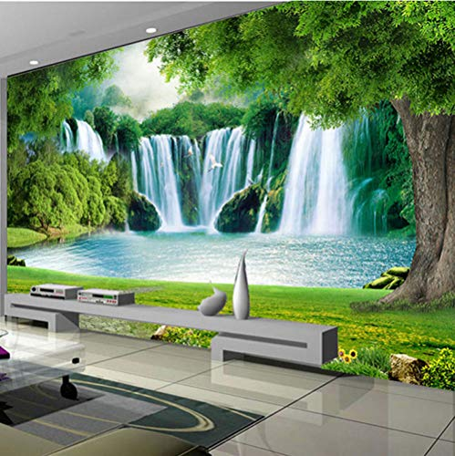 Papel Pintado Pared Paisaje de cascada Foto Mural 3D Fotomurales Decorativos Pared Moderna Póster Fotográfico Salón Dormitorio Decoración Murales, 350x245 cm