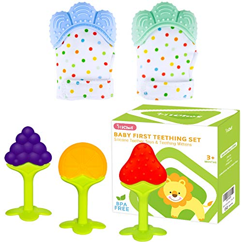 Teething Mittens for Baby (2 Pack) with Baby Teething Toys (3 Pack), Self Soothing Pain Relief Mitt, Silicone Baby Teethers, BPA-Free, Natural Organic Freezer Safe for Infants and Toddlers