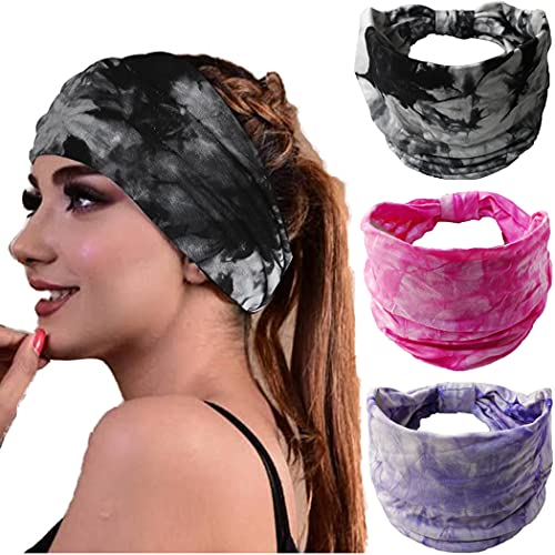 Bohend Sweat Wide Band Headbands For Women 3 pack Yoga Sports Hair bands Tie Dye Elastic Pattern Non Slip Bands For Girls